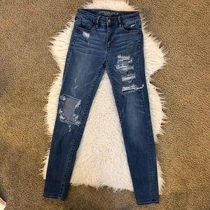 American Eagle hi rise jegging jeans destroyed